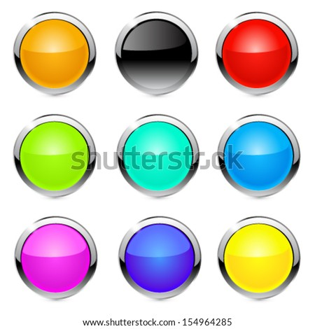 Buttons, elements round. Vector