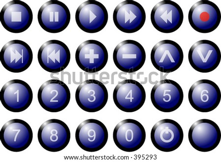 Buttons from a remote control with numbers 1, 2, 3, 4, 5, 6, 7, 8, 9 and 0 as well as the standard remote control symbols - stock vector