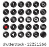 Buttons from a remote control with numbers 0,1, 2, 3, 4, 5, 6, 7, 8, 9 and   other standard buttons - stock vector