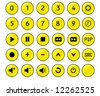 Buttons from a remote control with numbers 0,1, 2, 3, 4, 5, 6, 7, 8, 9 and other standard buttons - YELLOW version - stock vector