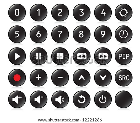 Buttons from a remote control with numbers 0,1, 2, 3, 4, 5, 6, 7, 8, 9 and   other standard buttons