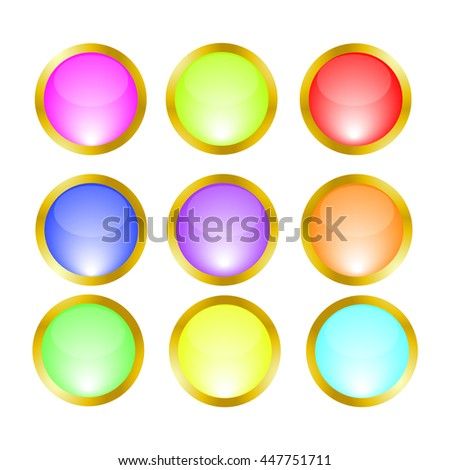 buttons icons gold frame