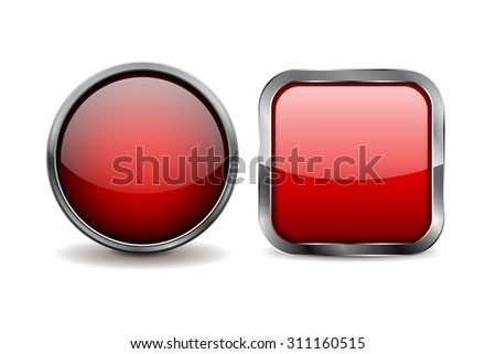 Buttons. Red shiny glass sphere and square button with metal frame. Vector - stock vector