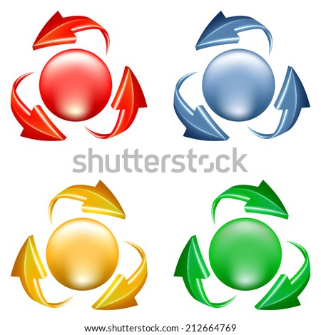 Buttons set. 3d icon of sphere and arrows in various colors - stock vector