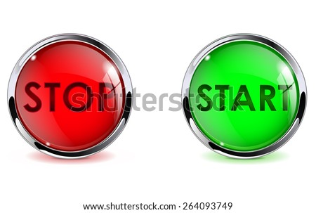 Buttons stop and start. Glass round web elements with metallic frame. Vector illustration isolated on white background - stock vector