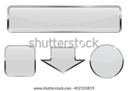 Buttons. White web icons with chrome frame. Vector illustration isolated on white background - stock vector