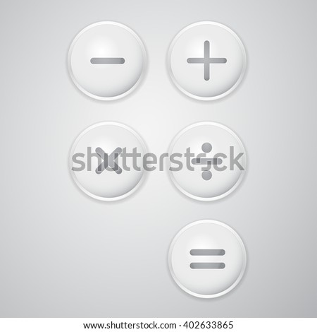 Buttons with math operations. Plus minus multiply divide - stock vector