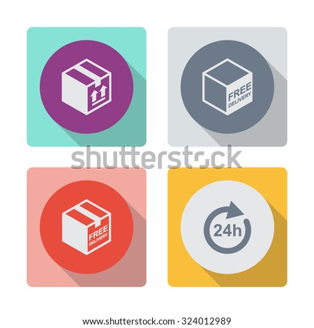 Buttons with shadow. Free shipping vector icon. Free delivery sign. Package box. 24 hours vector icon. Full rotation. - stock vector