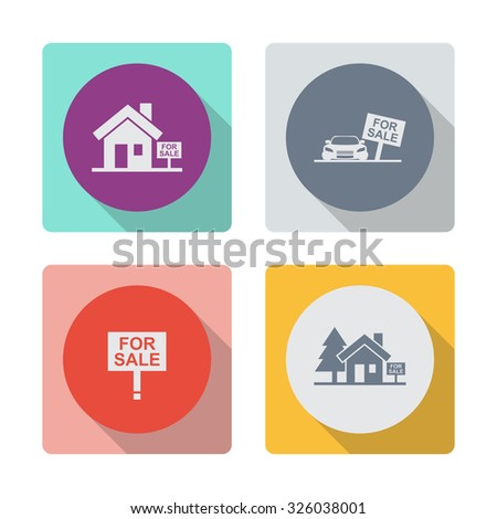 Buttons with shadow. House for sale vector icon. Broker symbol. Car sale vector icon. For sale vector icon. - stock vector