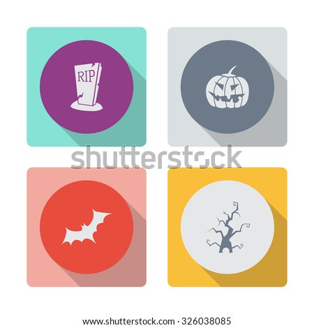 Buttons with shadow. Tombstone vector icon. Grave icon. Halloween pumpkin vector icon. Bat vector icon. Spooky silhouette of Halloween tree vector icon. - stock vector