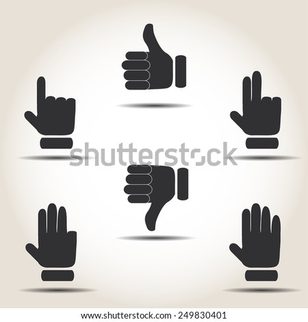 Buttons with your fingers on a gray background vector illustration