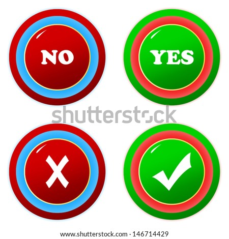 Buttons yes and no on a white background - stock vector