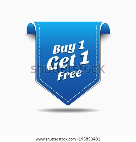 Buy 1 Get 1 Blue Label Icon Vector Design - stock vector