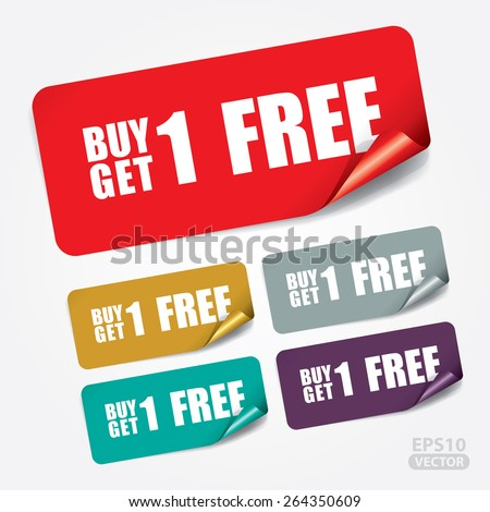 Buy 1 Get 1 Free on Rectangle Sticker and Tag - Vector