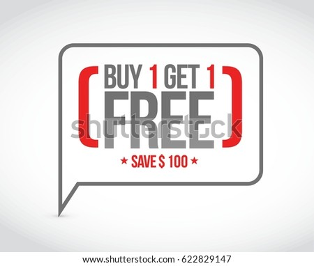 buy 1 get 1 free sale message concept illustration design graphic