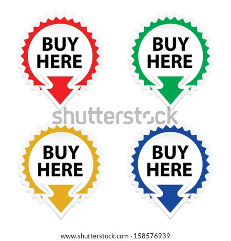 Buy Here button, icon, sticker or symbols on white background - Vector. - stock vector