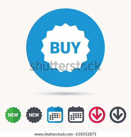 Buy Icon. Online Shopping Star Symbol. Calendar, Download Arrow And New Tag  Signs