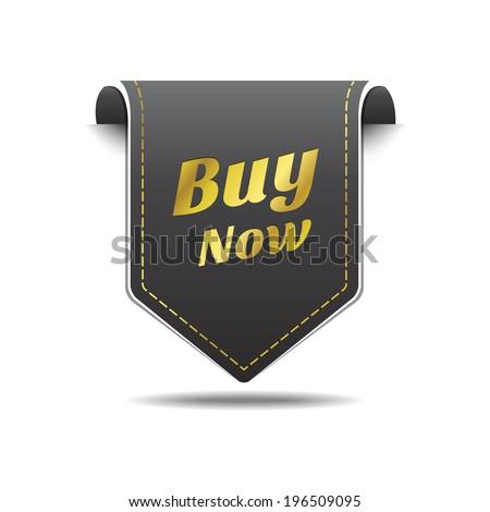 Buy Now Gold Black Label Icon Vector Design - stock vector