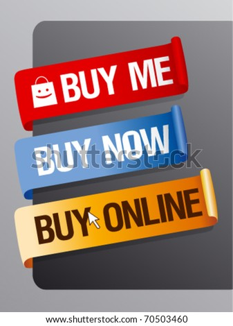 Buy now, online ribbons set. - stock vector