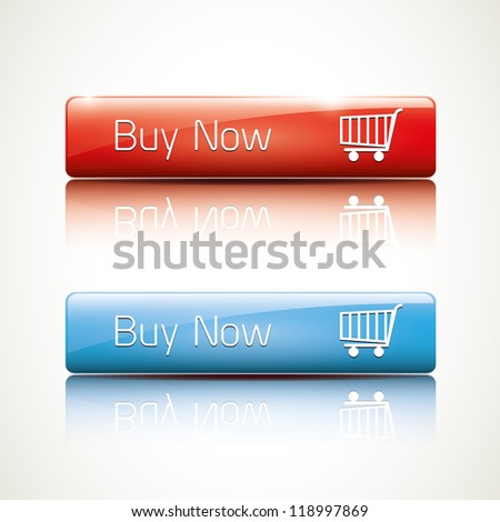 Buy now - realistic glossy icon - stock vector