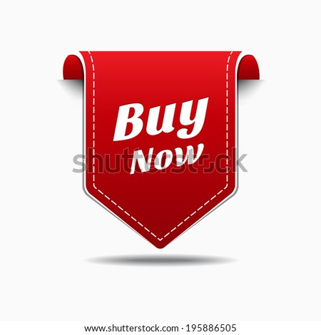 Buy Now Red Label Icon Vector Design - stock vector