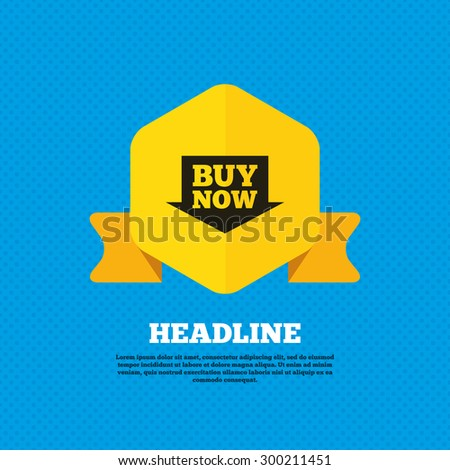 Buy now sign icon. Online buying arrow button. Yellow label tag. Circles seamless pattern on back. Vector - stock vector