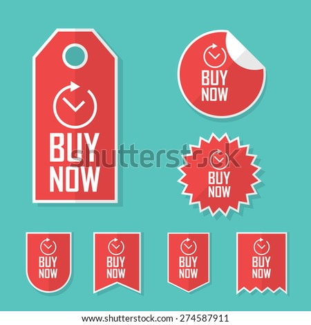 Buy now stickers. Limited time offer tags for sales. Promotional advertising elements collection. Eps10 vector illustration. - stock vector
