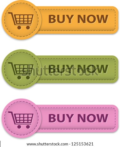 Buy Now web labels for shopping made of leather. Vector illustration - stock vector