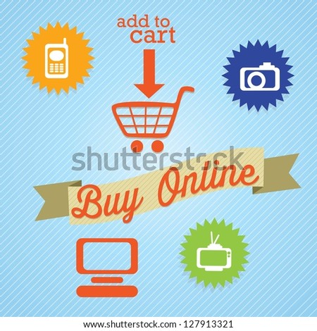Buy Online (add to cart) with imedia icons. On blue background. Vector - stock vector