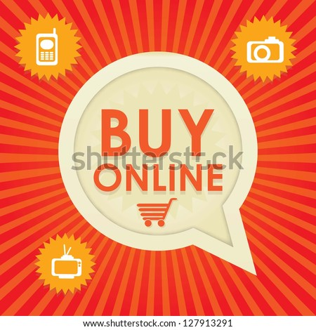 Buy Online Icons on red and orange background. Vector Illustration - stock vector