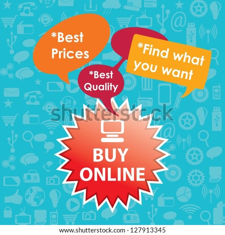 Buy Online label with text bubbles. On blue background - stock vector
