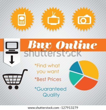 Buy Online (Pie Graph)with icons. On grey background - stock vector