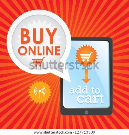Buy Online poster, (add to cart), on red and orange background. Vector Illustration - stock vector