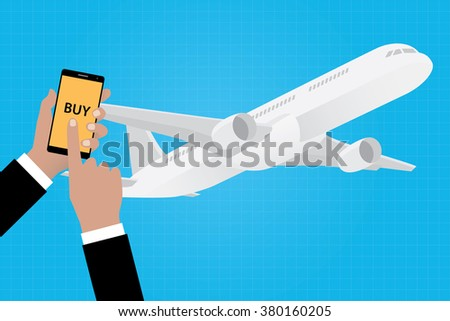 buy online ticket airline airlines with smartphone app apps vector illustration - stock vector
