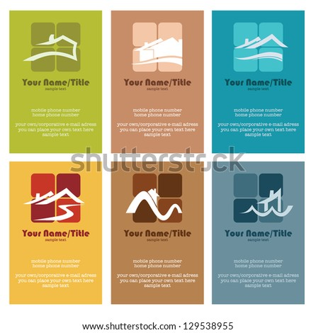 buy or rent your own home, vector collection property and real estate colorful business cards - stock vector