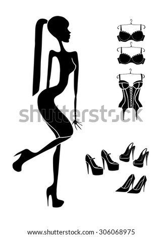 buy shoes vector woman buy corset silhouette