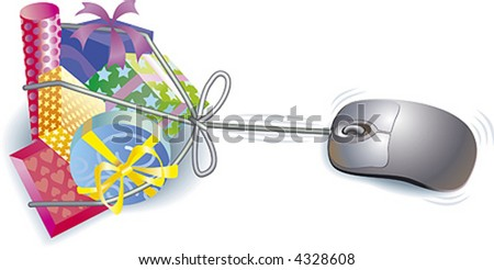 Buy the gifts online using your mouse! - stock vector