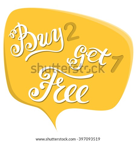Buy two get one free. Advertising banner with speech clouds in flat design style - stock vector