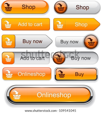 Buy web orange buttons for website or app. Vector eps10. - stock vector