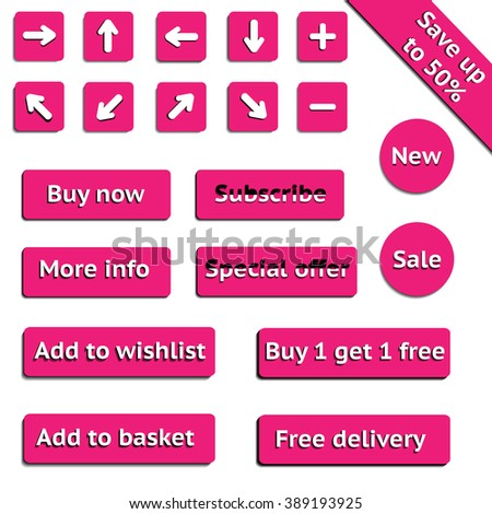 Buy web pink buttons for website or app on white background. Vector eps10.