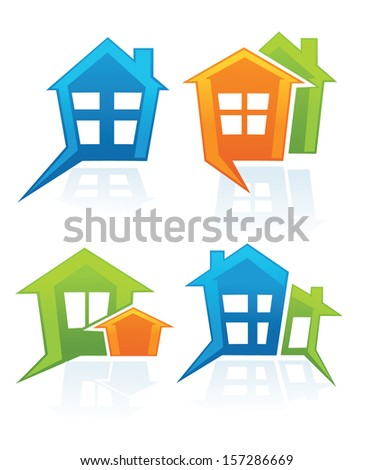 buy your own home, vector collection of property symbols and icons - stock vector