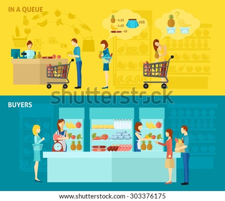 Buyer horizontal banner set with people standing in queue flat elements isolated vector illustration - stock vector