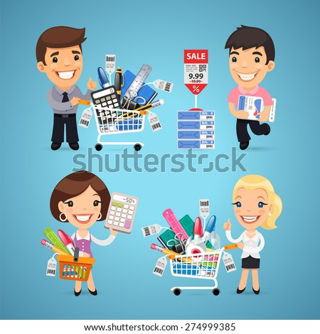 Buyers in Stationery Shop. In the EPS file, each element is grouped separately. - stock vector