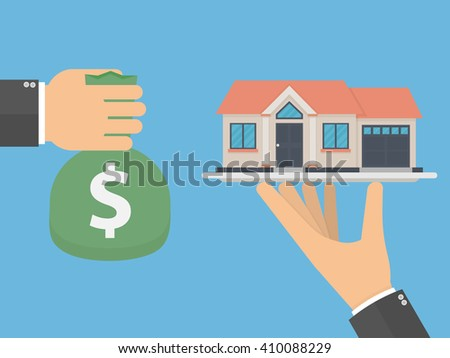 Buying or selling a house concept. Hand holding a house model on a silver platter and another hand offering a bag of money for it. Flat design - stock vector