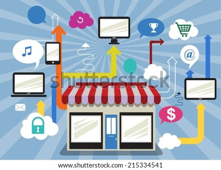Buying product via online shop. E-commerce concept - stock vector