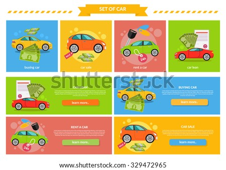 Buying selling rental car. Buy transport, auto rent, sale and loan, automobile and vehicle, purchase and deal, credit and pay, offer and money illustration. Buying car, car sale, rent a car, car loan - stock vector
