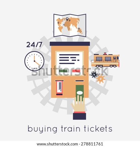 Buying train tickets. Hand and ticket auto-mat. Vector flat illustration. - stock vector