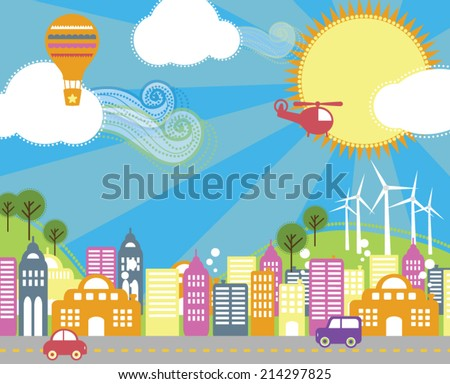 Buzzing Along in a Colorful Town on a Sunny Day - stock vector