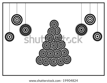 BW xmas card: conceptual xmas tree and xmas balls - stock vector