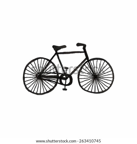 Bycicle. Doodle bike on the white background. Sport, recreation, vintage style. Vector illustration. Hand-drawn decorative element. Real drawing - stock vector